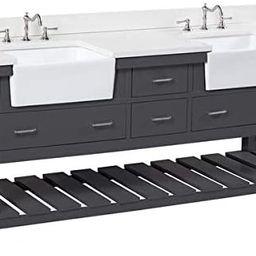 Charlotte 72-inch Double Bathroom Vanity (Quartz/Charcoal Gray): Includes Charcoal Gray Cabinet w... | Amazon (US)