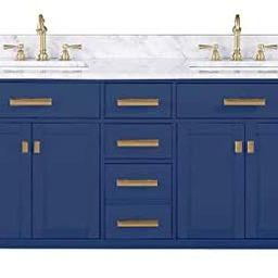 Design Element V01-84-BLU Valentino Pre-assembled Double Sink Bathroom Vanity Set, Blue | Amazon (US)