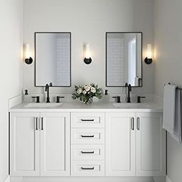 "ARIEL 73"" Inch Double Sink Bathroom Vanity w/ 1.5"" Edge Pure White Quartz Countertop | 2 Rectangl... | Amazon (US)"