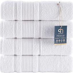 Qute Home 4-Piece Bath Towels Set, 100% Turkish Cotton Premium Quality Towels for Bathroom, Quick... | Amazon (US)