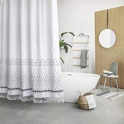YoKii Tassel Fabric Shower Curtain, Black White Geometric Boho Striped Nordic Chic Polyester Bath... | Amazon (US)