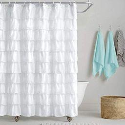 Reisen White Shower-Curtain Farmhouse Ruffle Fabric for Bathroom Sheer Cloth Shower Curtains 72 i... | Amazon (US)