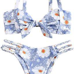ZAFUL Women's Wide Strap Tie Knot Braided Floral Bikini Set Two Piece Swimsuit | Amazon (US)