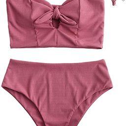 ZAFUL Women's Keyhole Tankini Swimsuits Knot Front Lace Up Back Bikini Set   Amazon (US)