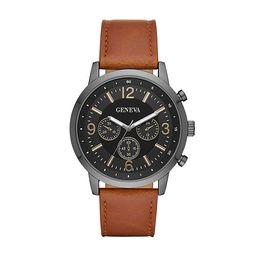 Geneva Mens Brown Strap Watch-Fmdjm585 | JCPenney