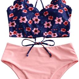 ZAFUL Women's Floral Leaf Print Lace-up Criss Cross Tankini Set High Waisted Scoop Collar Padded ...   Amazon (US)