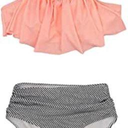 SHELY Women Two Piece Bathing Suit Halter Neck Flounce Swimwear Ruched High-Waisted Bikini Swimsu...   Amazon (US)