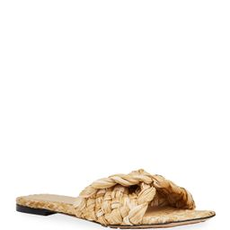 Raffia Flat Slide Sandals   Neiman Marcus
