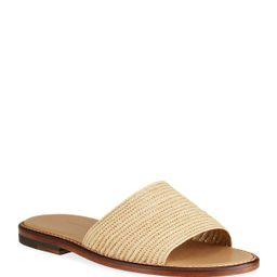 Safina Raffia Slide Sandals   Neiman Marcus
