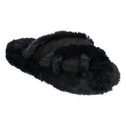 Dearfoams Women's Slippers Black - Black Crisscross Faux Fur Slipper - Women | Zulily