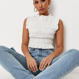 White Poplin Smocked High Neck Crop Top | Missguided (US & CA)