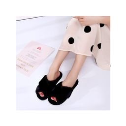 Women's Fuzzy Fur Cross Band Slip On Slippers Furry House Shoes | Walmart (US)