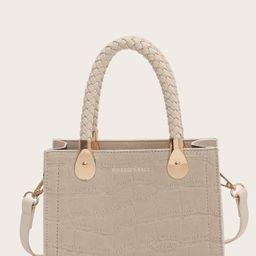 Croc Embossed Satchel Bag | SHEIN