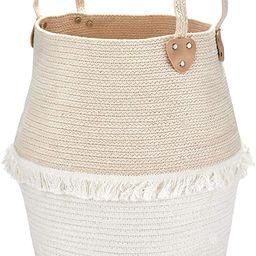 Rope Basket Woven Storage Basket - Laundry Basket Large 16 x 15 x 12 Inches Cotton Blanket Organi...   Amazon (US)