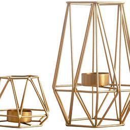 Nuptio 2 Pcs Metal Hexagon Shaped Geometric Design Tea Light Votive Candle Holders, Iron Hollow T...   Amazon (US)