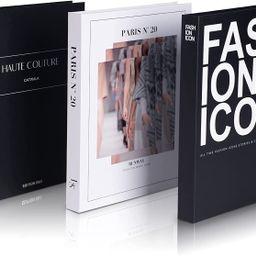 Decorative Books Set of 3 Designer Book Decor Inspired – Fake Books for Coffee Table Books Fash...   Amazon (US)
