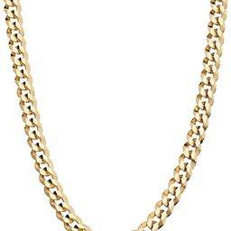 Miabella Solid 18K Gold Over Sterling Silver Italian 5mm Diamond-Cut Cuban Link Curb Chain Neckla... | Amazon (US)