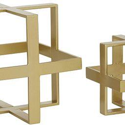 "Deco 79 ""Set of 2 Gold Metal Glam Geometric Sculpture, 5"""", 7"""""", Small   Amazon (US)"