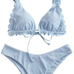ZAFUL Women's Spaghetti Strap Tie Back Ruffle Triangle Bikini Set Swimsuit | Amazon (US)