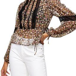 Women's Topshop Lace Inset Floral Top, Size 12 US - Black   Nordstrom