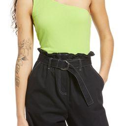 Women's Bp. One-Shoulder Rib Tank Top, Size X-Large - Green   Nordstrom