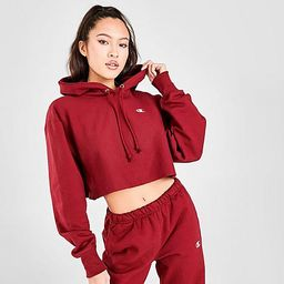 Champion Women's Reverse Weave Crop Hoodie in Red/Burgundy Size X-Large Cotton   Finish Line (US)