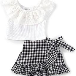 Baby Girls 3-24 Months Eyelet-Collar Top & Gingham Skort Set   Dillards
