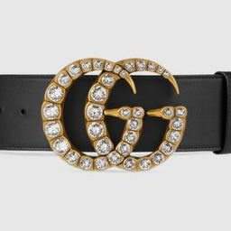 Leather belt with crystal Double G buckle   Gucci (US)