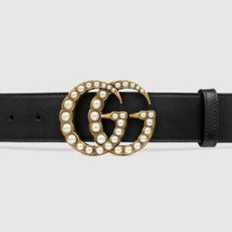 Leather belt with pearl DoubleG   Gucci (US)