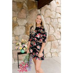 The Pioneer Woman Floral A-Line Knit Dress with 3/4-Sleeves, Womens | Walmart (US)