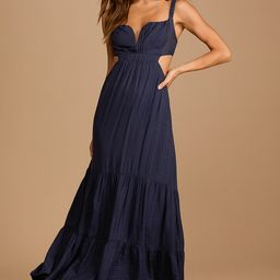 Sweep Me Away Navy Blue Back Cutout Sleeveless Maxi Dress | Lulus (US)