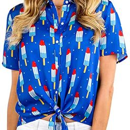 Tipsy Elves Women's Tie Front Shirt with Classic Red White and Blue Popsicles Allover Print Siz...   Amazon (US)