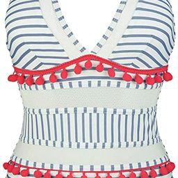 COCOSHIP Women's Plunging Neck Striped Mesh One Piece Backless Bather Swimsuit Pom Pom Tassel Swi...   Amazon (US)
