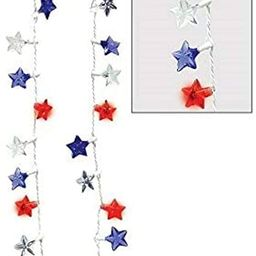 """Amscan Light-Up LED Patriotic Red, White & Blue Plastic Stars 32"""" Necklace, Multi Color   Amazon (US)"""