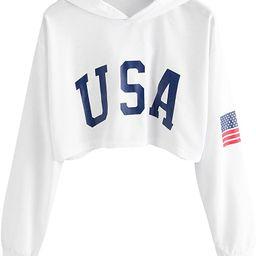 SweatyRocks Women's Casual Letter Print Long Sleeve Crop Top Sweatshirt Hoodies   Amazon (US)