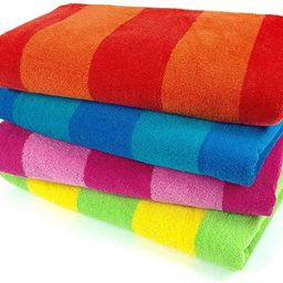 Kaufman – 100% Cotton Velour Striped Beach & Pool Towel 4-Pack – 30in x 60in   Amazon (US)