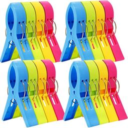 ESFUN 16 Pack Beach Towel Clips Chair Clips Towel Holder for Pool Chairs on Cruise-Jumbo Size,Pla...   Amazon (US)