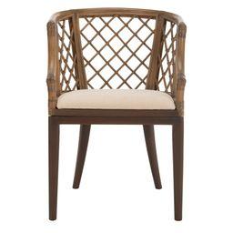 Safavieh Carlotta Griege Cotton Arm Chair, Greige | The Home Depot
