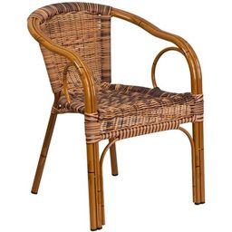 Flash Furniture Cadiz Rattan Patio Dining Arm Chair in Burning Brown (Set of 3) | Walmart (US)