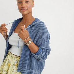 Aerie Full Zip Cropped Cardigan | American Eagle Outfitters (US & CA)