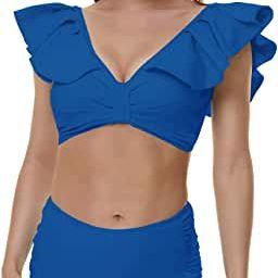 Peddney Flounce High Waisted Bikini Swimsuit for Women V Neck Ruffle Bikini Swimsuit | Amazon (US)