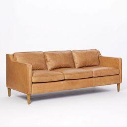 Hamilton Leather 3-Seater Sofa, Burnt Sienna, Almond | West Elm (US)