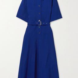CO - Belted Woven Midi Shirt Dress - Blue | Net-a-Porter (US)