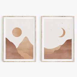 Minimalist Landscape Art Print Set Of 2 Boho Wall Art | Etsy | Etsy (US)
