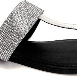 Qupid Archer Flip Flops for Women - Faux Leather & Rhinestone Sandals | Amazon (US)