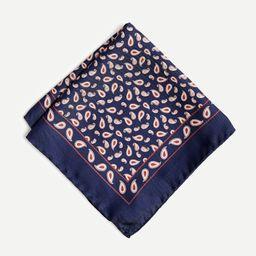 Italian silk pocket square in blue paisley | J.Crew US