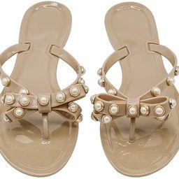 TYFLOVE Women Pearls Bow Flip Flops Jelly Thong Sandals Rubber Flat Summer Beach Rain Shoes | Amazon (US)