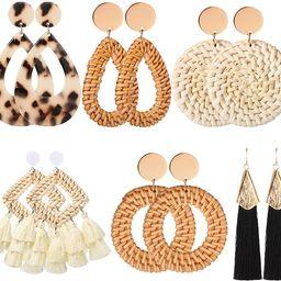 6 Pairs Women Handmade Rattan Earrings Statement Acrylic Earrings Geometric Straw Earrings Tassel... | Amazon (US)