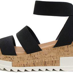 Soda Style Madyson ~ Slip On Open Toe Two Bands Elastic Ankle Strap Flatform Wedge Casual Fashion... | Amazon (US)