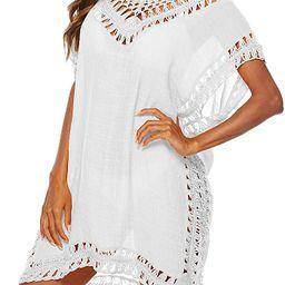 DQinLit Beach Crochet Swimsuit Cover Ups for Women Tassels Swimwear Coverup Dress Tunic | Amazon (US)